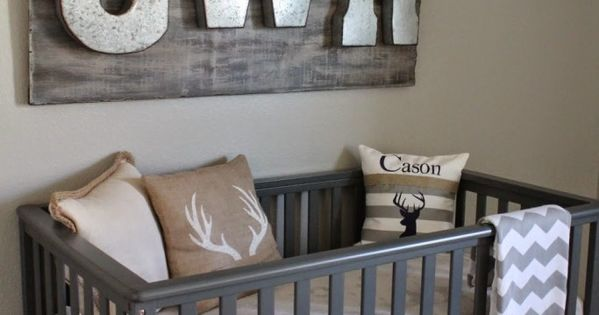 Hunting and Fishing Themed Nursery - we love the rustic look of