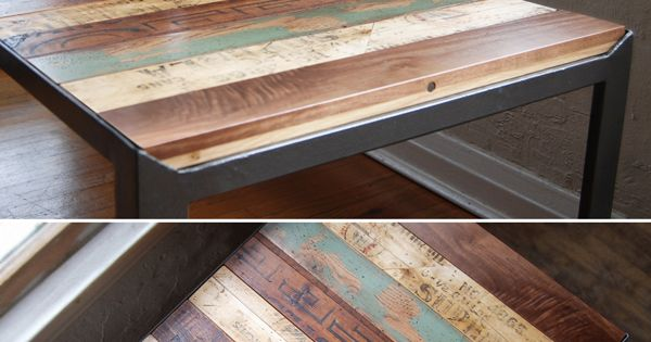 I want this for my kitchen table! recycled wood / board table