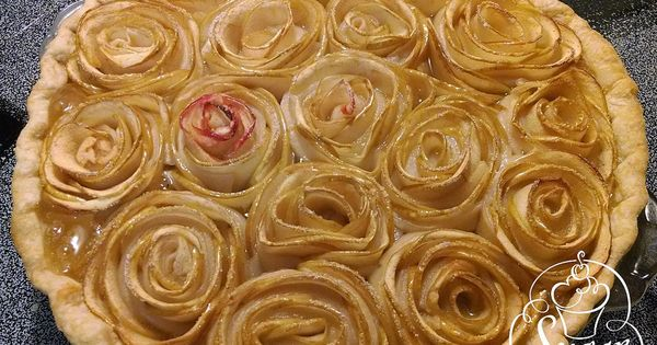 apple rose pie -- very thinly sliced apples form the rose petals ...
