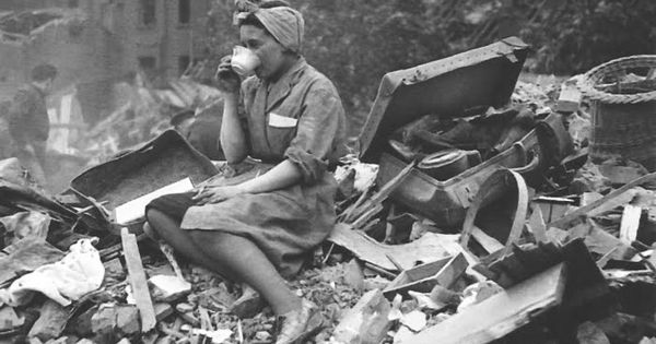 Tea time, ANYtime: A woman drinking tea during the Blitz. | The
