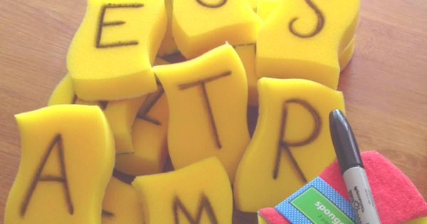 Summer Fun: Pool Scrabble! Throw the sponges in the pool and have