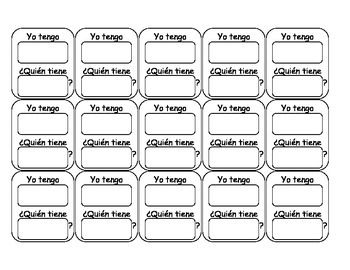 Spanish Template For I Have Who Has Game 12 Blank Cards With Yo Tengo Quien Tiene Spanish Templates Summer Learning