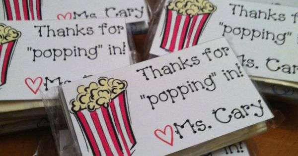 Popcorn and note to send home with parents/kids at Back to School