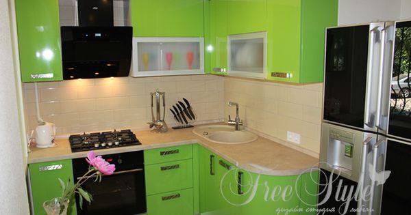 Маленькая кухня салатового цвета фото