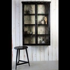 Tall Slim Distressed Black Wall Cabinet With Botanical Lining Black Display Cabinet Wall Display Cabinet Wall Mounted Display Cabinets