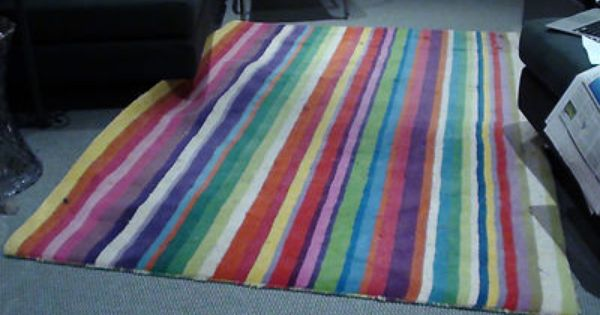 Multicoloured Striped Rug Ikea Strib