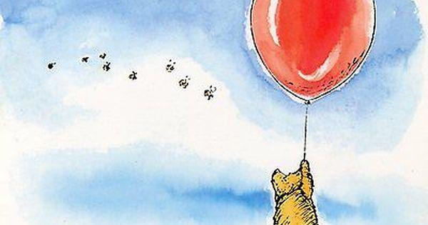 Ernest H Shepard Original Drawing 1924 Winnie The Pooh Red Balloon Postcard Disney Tattoos Small Original Drawing Red Balloon