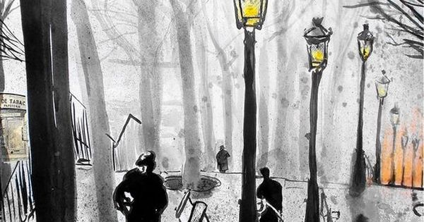"Saatchi Online Artist: Loui Jover; Pen and Ink, Drawing ""montmartre stairs"""