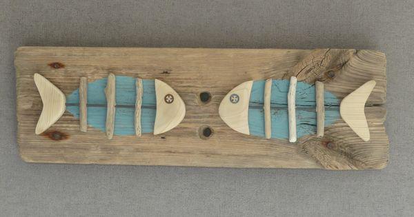 Conversation de poissons tableau en bois flott for Deco poisson bois
