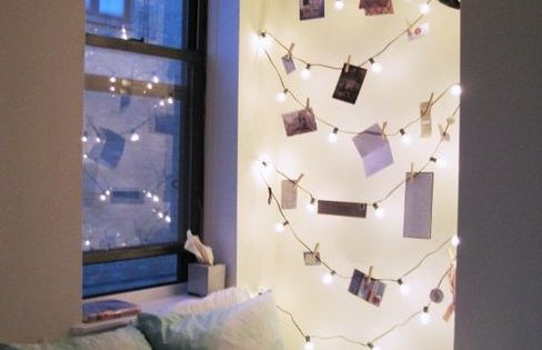 Use a light strand as a photo chain. Cute idea for Christmas