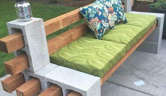 Mueble en bloques con sentadera y espaldar en definidos for Bloques cemento para jardin
