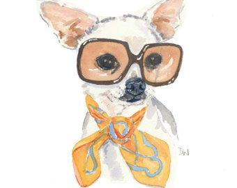 Watercolor Print Chihuahua Watercolor Painting Vintage Sunglasses