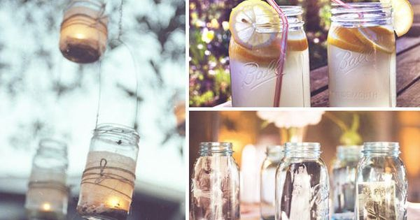 Mason jar wedding decorations... Candle holders, drinks, and photo frames!