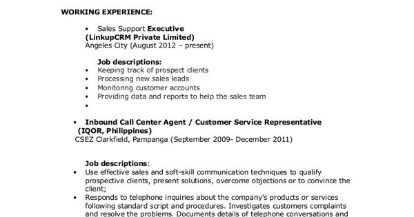 Image result for objectives in resume for call center no - call center job description