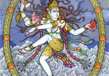 depictions of shiva Behind shiva is a large depiction of a trident comprised of one curved outer semi-circular arms gradually tapering to points and a central vertical multi-edged sword like element the trident or trishula is a standard weapon appearing in depictions of the hindu god shiva.