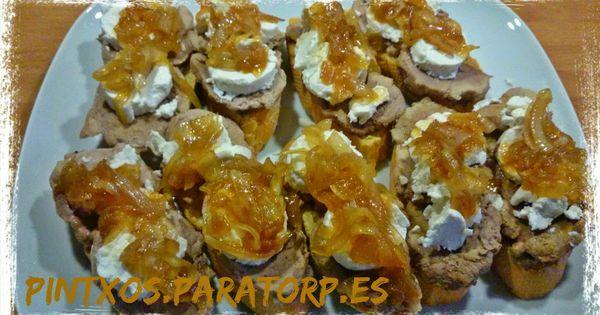 Tostas de solomillo queso de cabra y cebolla caramelizada for Canape de pate con cebolla caramelizada