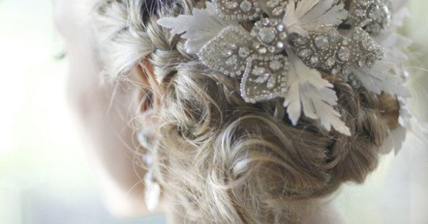 Bridal Hair - double braid + rhinestone hair piece