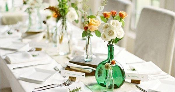 festliche tischdeko idee gr ne vasen blumen tischdeko pinterest deko dekoration und vasen. Black Bedroom Furniture Sets. Home Design Ideas