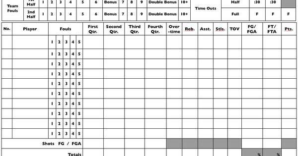 Blank Basketball Stat Sheet Printable | Print This Blank Stat