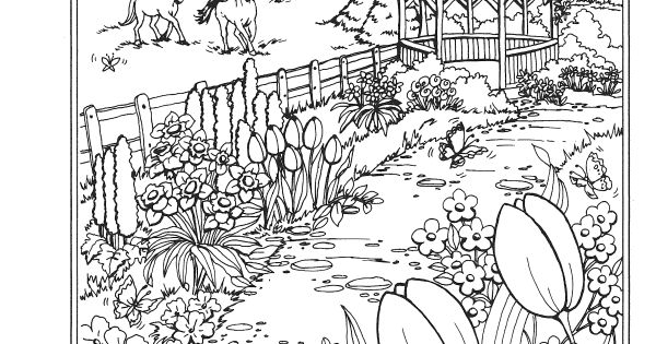 spring scene coloring pages - photo#40