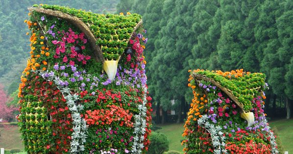 Flower Owl Sculptures / Nantou County, Taiwan Amazingly BEAUTIFUL! !!!