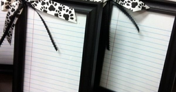frame notebook paper, hot glue a bow, wrap with a dry erase