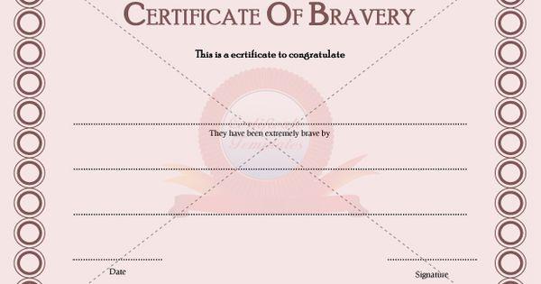 Certificate of bravery congratulation certificate for Bravery certificate template