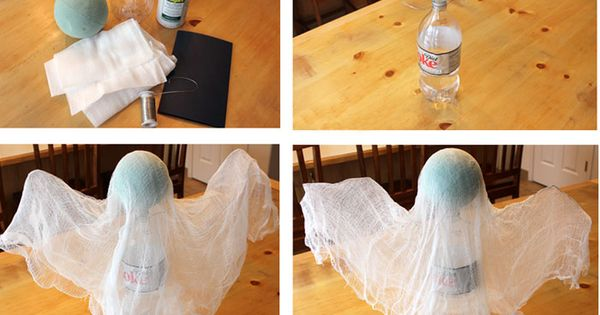 Spooky Floating Cheesecloth Ghost. Quick and easy Halloween decoration! I wonder if