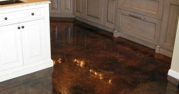 Acid stained concrete flooring with gloss finish no grout for Clean acid stained concrete