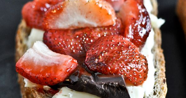 #food food lovers cooking roasted strawberry, brie and dark chocolate grilled cheese