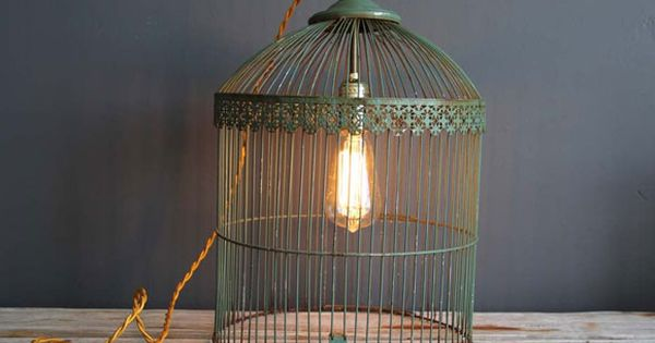 Antique Birdcage Light by Gallivanting Girls >> I am loving this light,