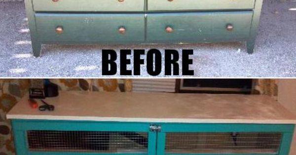Cody 39 s diy rabbit hutch made from an old dresser for Diy guinea pig cage from dresser