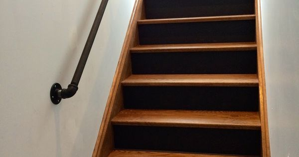 Best Gas Pipe Railing Walnut Stairs Black Risers Gas Pipes 400 x 300