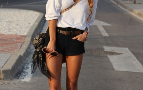 baggy white shirt, black shorts and brown belt
