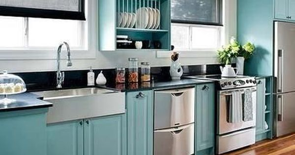 Kitchen cabinets for restaurant - Painted Kitchen Cabinets Teal Painted Ikea Kitchen