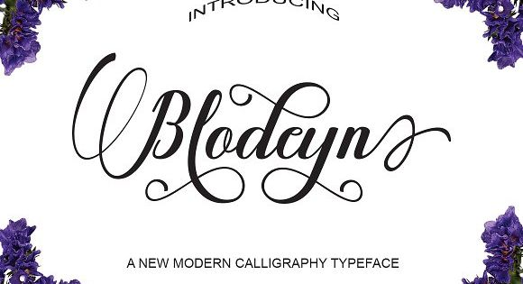 Blodeyn Script is a stylish calligraphy font that features a varying baseline, smooth line, classic and elegant touch