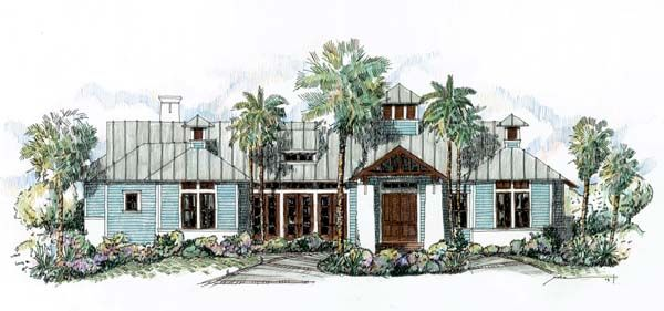 Southern Style House Plan 73610 With 4 Bed 4 Bath 2 Car Garage Beach Style House Plans Coastal House Plans Florida House Plans