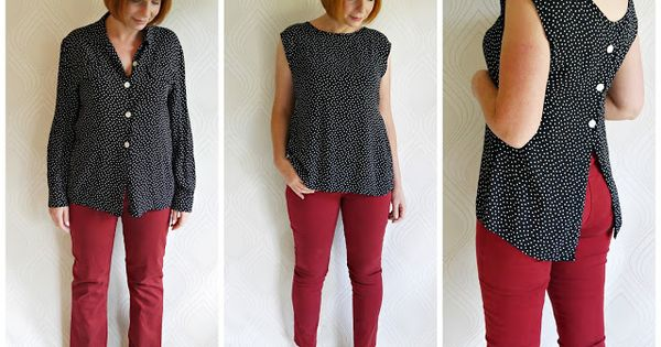 Miss P: FO x 2: Polka Blouse & Jeans Outfit Refashion