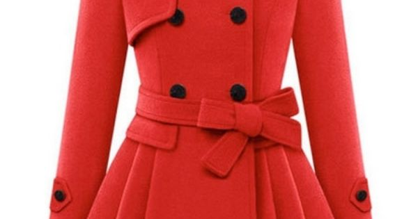 charming fold over collar double breasted swing coat