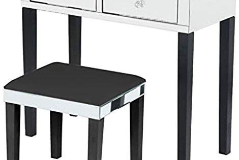 Best Seller Posh Living Caleb Mirrored Black Vanity Set 2 Drawers Stool Online In 2020 Black Vanity Set Black Vanity Sofa Couch Bed