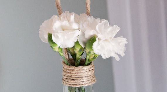 Light Bulb used as a hanging vase! Complete with twine :)