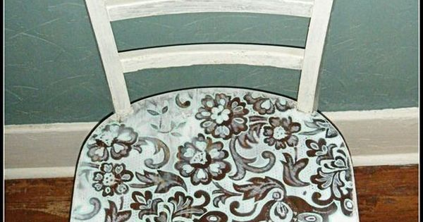Spray Paint Through Lace! Started with a brown old chair, placed a