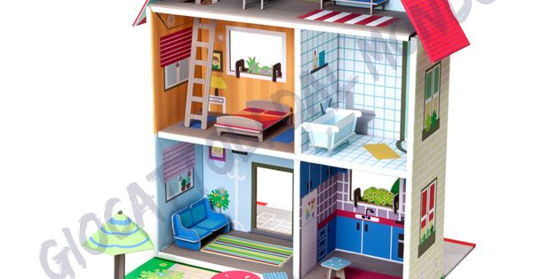 Casa delle bambole in cartone ecologico krooom casa - Ikea casa bambole ...