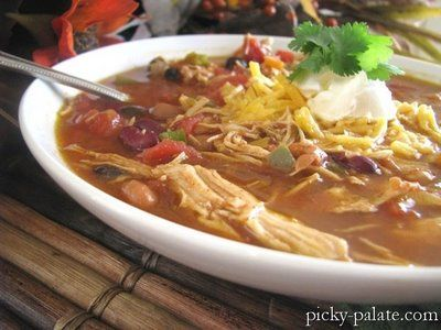 Bean chili, Shredded chicken and Chili on Pinterest