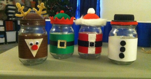 Christmas mason jars santa rudolph elf and snowman for What to fill mason jars with for christmas