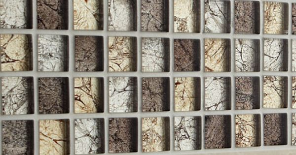 Mosa que glass select mix artens marron cm for Carrelage 5x5 blanc