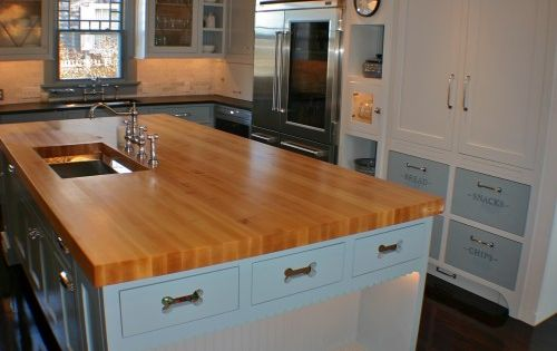 Neat idea to have built in kitchen island area for the dog