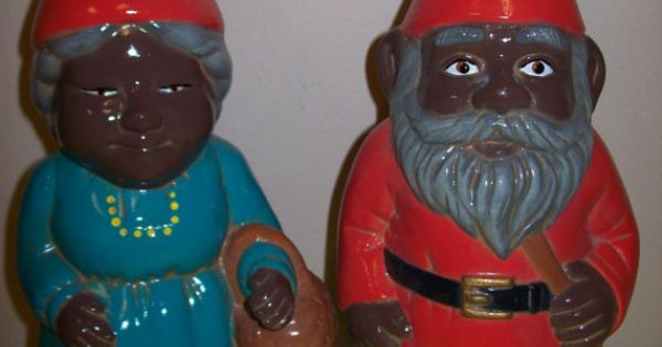 Ceramic African American Gnome Couple Garden By
