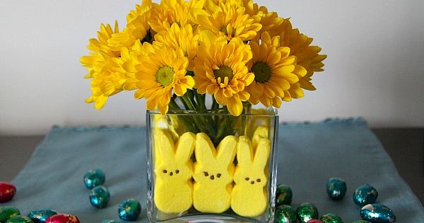 Peeps and flower vases