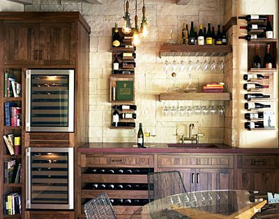 This wine tasting room seems right at home in the kitchen. A